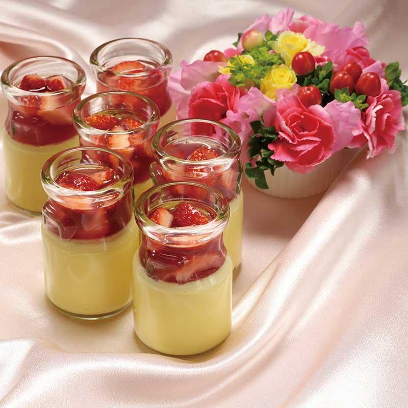 お花と苺と薔薇のプリン画像
